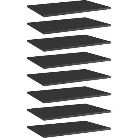 Bookshelf Boards 8 pcs High Gloss Black 60x40x1.5 cm Chipboard