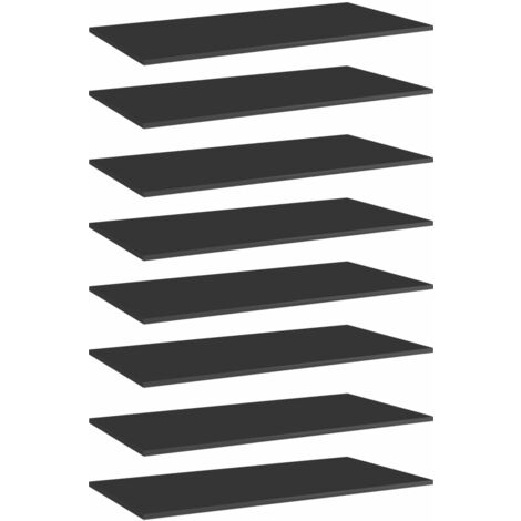 Bookshelf Boards 8 pcs High Gloss Black 80x30x1.5 cm Chipboard