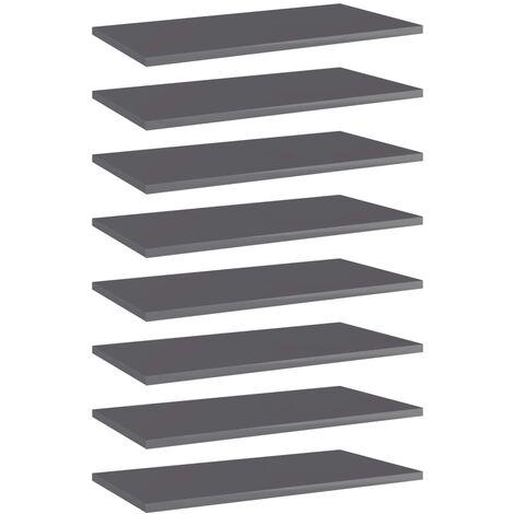 Bookshelf Boards 8 pcs High Gloss Grey 60x30x1.5 cm Chipboard