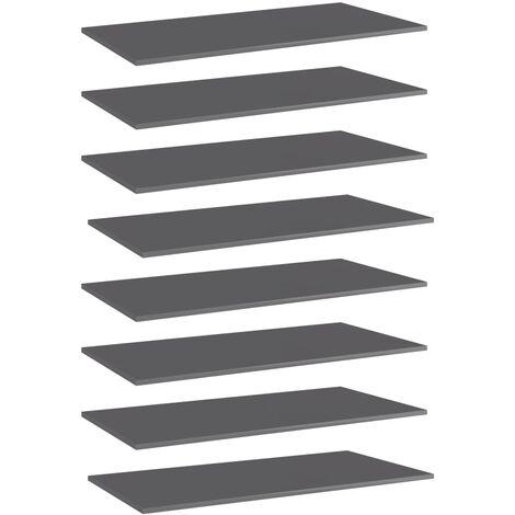 Bookshelf Boards 8 pcs High Gloss Grey 80x30x1.5 cm Chipboard