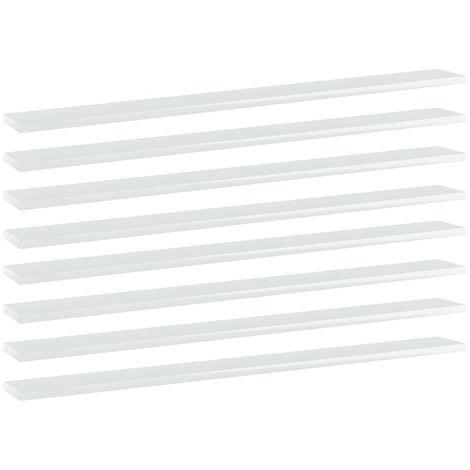 Bookshelf Boards 8 pcs High Gloss White 100x10x1.5 cm Chipboard