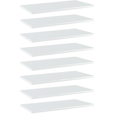 Bookshelf Boards 8 pcs High Gloss White 60x30x1.5 cm Chipboard