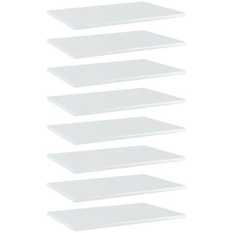 Bookshelf Boards 8 pcs High Gloss White 60x40x1.5 cm Chipboard