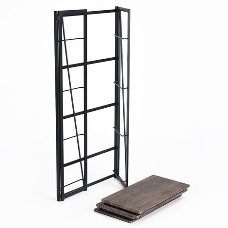 Bookshelf Organizer Folding Wood Effect Metal Industrial Design for Storage (125cm x 60cm x 30cm)