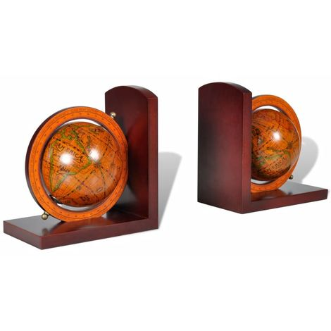 Bookstand World Map Globe Bookend Classic A Pair VD08368