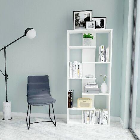 Bora Bibliotheque - avec etageres, etageres - Bureau, salon - Blanc en Bois, 70 x 22 x 156,6 cm