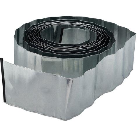 Borde delimitador de jardín, Separador de metal, Galvanizado, Flexible, Bordillo para césped, Plata