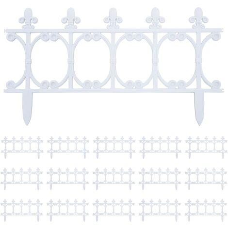Bordes de jardín 16 unidades PP blanco 10 m