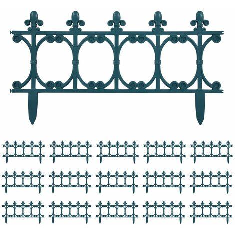 Bordes de jardín 16 unidades PP verde 10 m