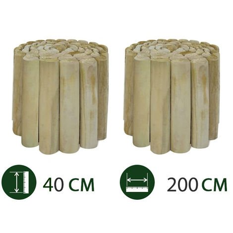 Bordura di Recinzione in Legno. Confezione da 2 Pezzi. Mini Steccato per Aiuole. Cm 250 x H40