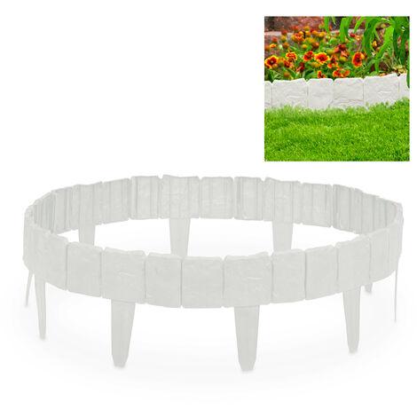 Bordure de jardin, Clôture gazon, 10 éléments, Portail aspect pierre parterre massif pelouse 10 cm, blanc