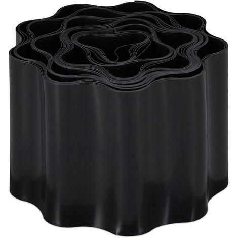 Bordure de jardin flexible, Clôture gazon, Rouleau plastique souple, parterre massif pelouse, 10x900 cm, noir