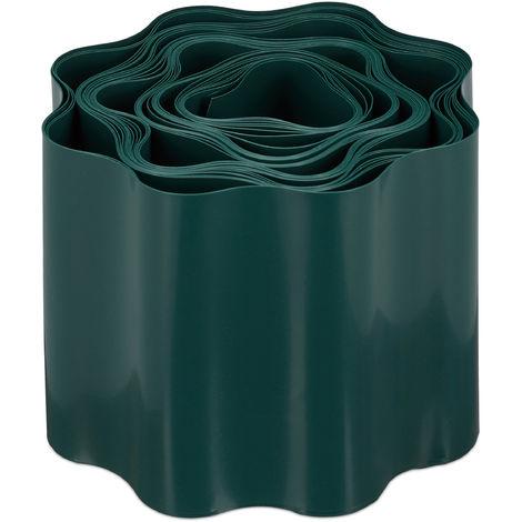Bordure de jardin flexible, Clôture gazon, Rouleau plastique souple, parterre massif pelouse, 10x900 cm, vert