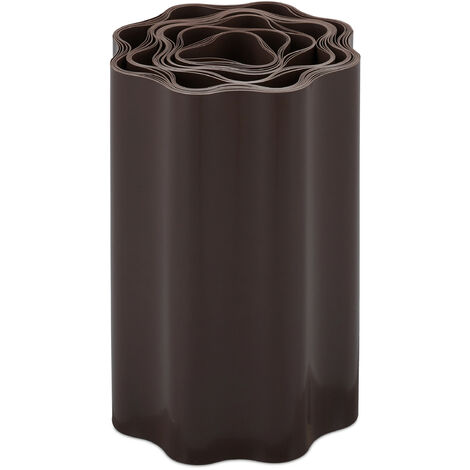Bordure de jardin flexible, Clôture gazon, Rouleau plastique souple, parterre massif pelouse, 20x900 cm, brun