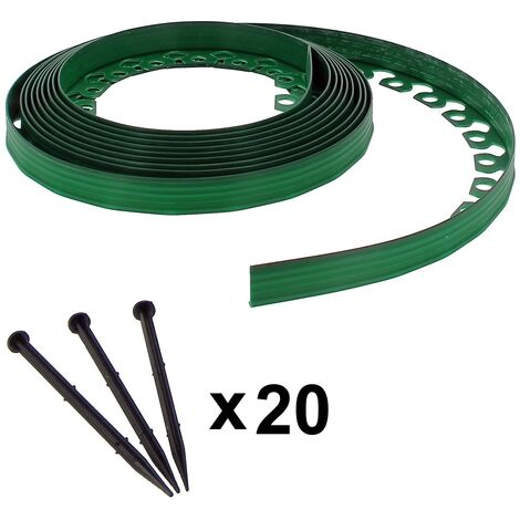 Bordure de jardin flexible verte - 3,8 cm x 10 mètres avec 20 piquets d'ancrage