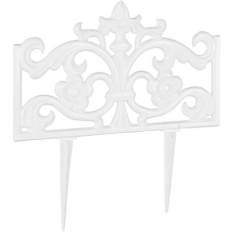 Bordure de jardin fonte de fer clôture métal piquet antiquités HxlxP: 37 x 36 x 2 cm, blanc