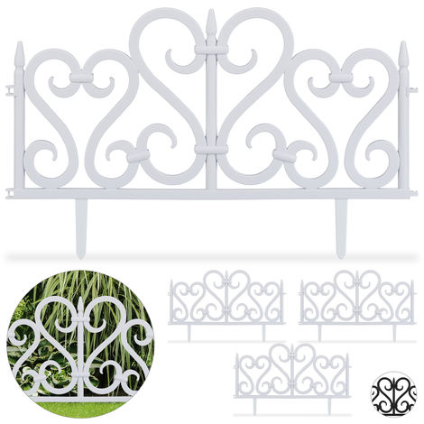 Bordure de jardin plastique, Clôture gazon 28 cm, 4 éléments, parterre massif pelouse, blanc