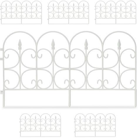 Bordure de jardin plastique, Clôture gazon 30 cm, 6 éléments, 4 m, parterre massif pelouse, piquet