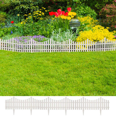 Bordure de pelouse Blanc 17 pcs / 10 m