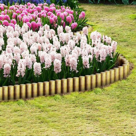 Bordure de pelouse en rondins 25 pcs 5x30 cm