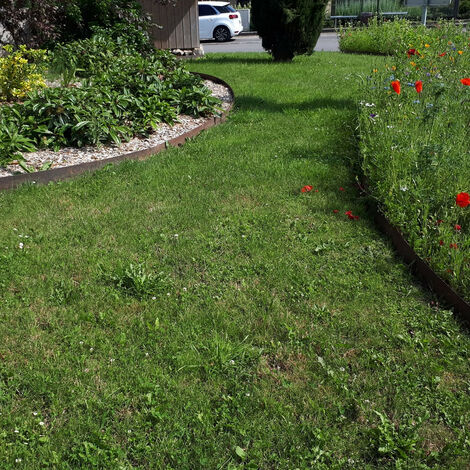 Bordure droite en acier corten brut 3 ML Hauteur bordure-costière:100 mm - Épaisseur bordure, angle, costière:3 mm