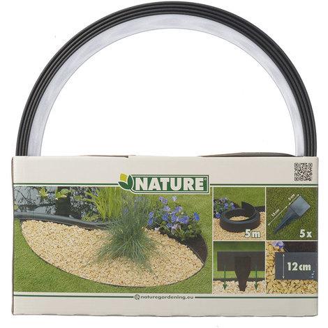 Bordure en polyuréthane pour jardin et bassin Noir - 5 m x H.12 cm
