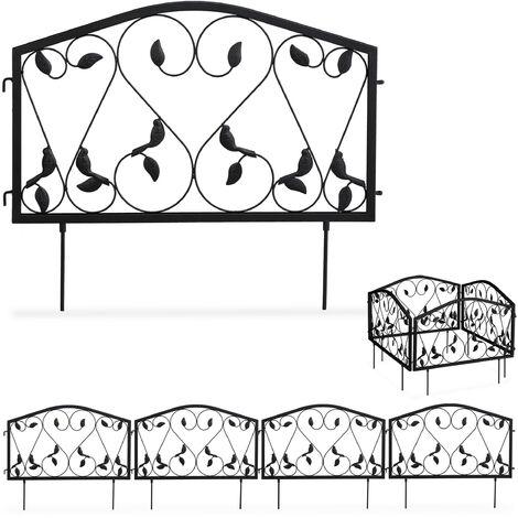 bordure potager, clôture jardin 4 éléments, fer, antique, design feuilles, H x L : 33 x 225 cm, noir