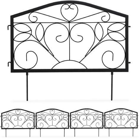 bordure potager, clôture jardin 4 éléments, fer, antique, ornements, H x L : 33 x 225 cm, noir