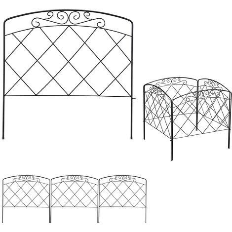 bordure potager, clôture jardin 4 éléments, métal, design antique, H x L : 41,5 x 245 cm, noir
