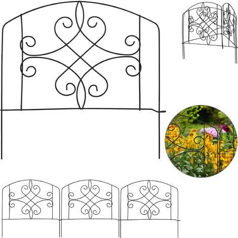 bordure potager, clôture jardin 4 éléments, métal, ornements antiques, H x L : 32 x 186 cm, noir