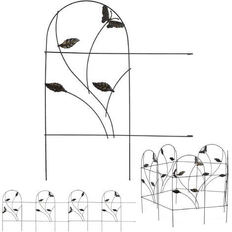 bordure potager, clôture jardin 5 éléments, métal, design papillon, H x L : 46 x 250 cm, noir