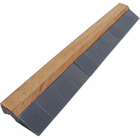 Bordure pour dalle bois clipsable XTiles - 118 x 19,5 cm - Brun - Brun