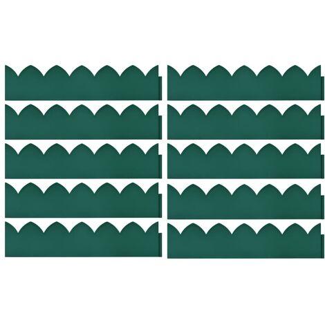 Bordures de jardin 10 pcs Vert 65x15 cm PP