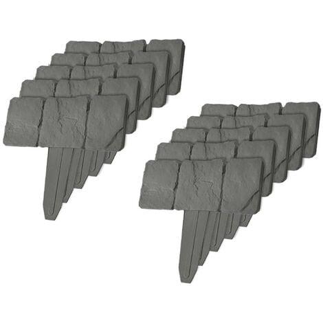 Bordures de jardin imitation pierre - lot de 80