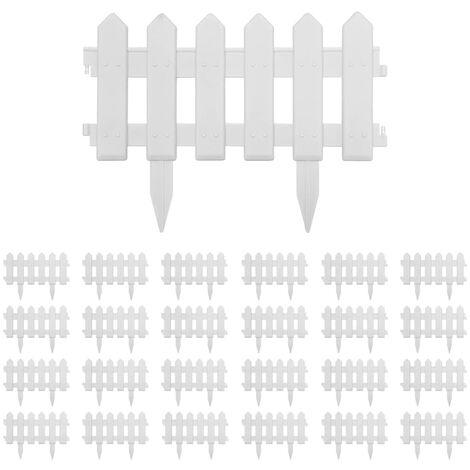 Bordures de pelouse 25 pcs Blanc 10 m PP