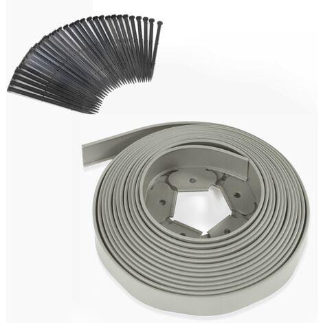 Bordurette de jardin flexible 10M grise hauteur 5 cm + 30 piquets