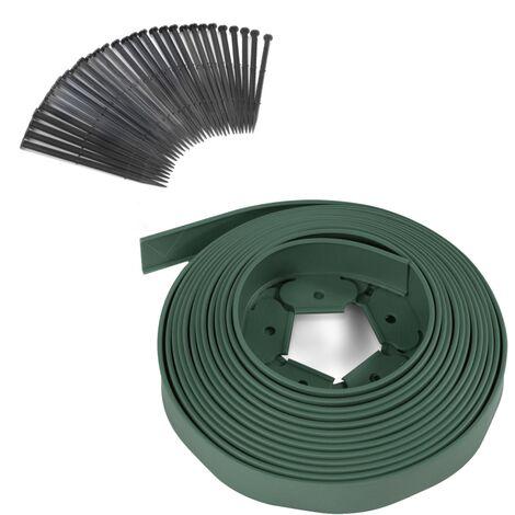 Bordurette de jardin flexible 10M verte hauteur 5 cm + 30 piquets