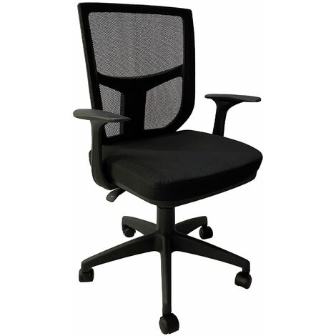 Boren Height Adjustable Office Chair with armrests and a mesh back, W64xD48cmxH89-96.5/93.5-101 cm - Black