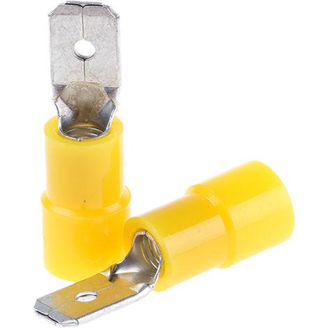 Borne de prise à sertir, RS PRO, Isolé, 0.8 x 6.35mm, Jaune