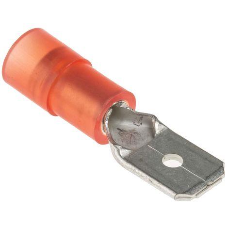 Borne de prise à sertir, RS PRO, Isolé, 0.8 x 6.35mm, Rouge
