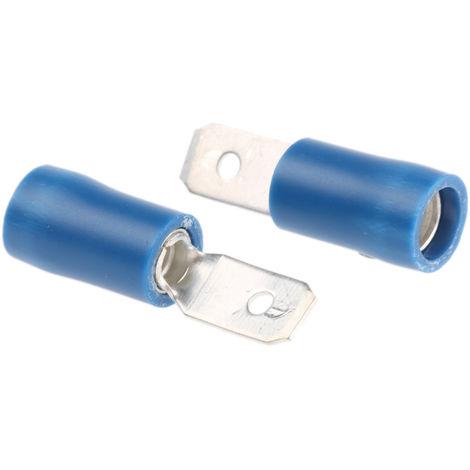 Borne de prise à sertir, RS PRO, Isolé, placage Etain, 4.75 x 0.5mm, Bleu