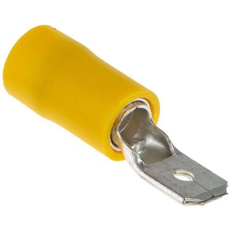 Borne de prise à sertir, RS PRO, Isolé, placage Etain, 6.35 x 0.8mm, Jaune