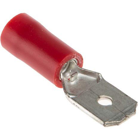 Borne de prise à sertir, RS PRO, Isolé, placage Etain, 6.35 x 0.8mm, Rouge