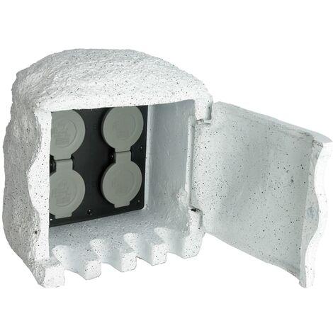 Borne électrique de jardin imitation pierre avec télécommande - 41231