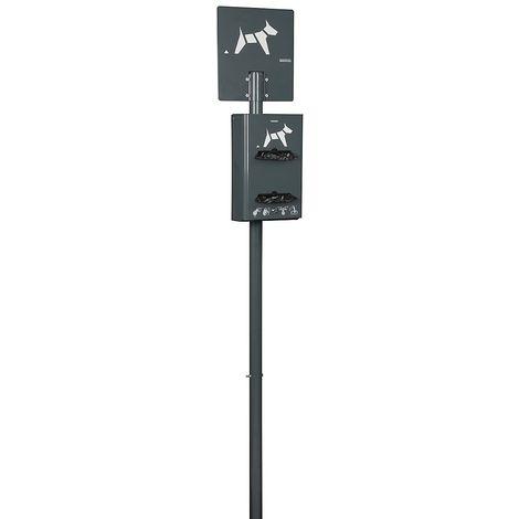 Borne hygiène canine sur poteau à enfouir - capacité 2 x 200 sachets - Anthracite mat - HYGECA | Rossignol