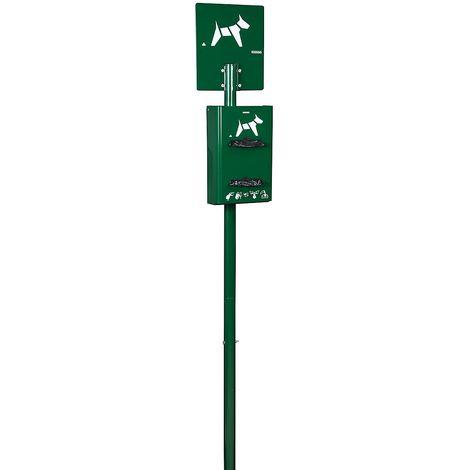 Borne hygiène canine sur poteau à enfouir - capacité 2 x 200 sachets - Vert mousse - HYGECA | Rossignol