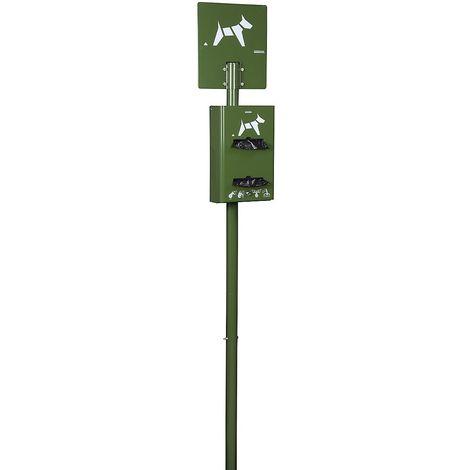 Borne hygiène canine sur poteau à enfouir - capacité 2 x 200 sachets - Vert olive - HYGECA | Rossignol