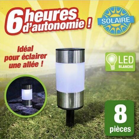 Borne lumineuse à énergie solaire - lot de 8 - économiques et pratiques