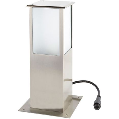 Borne Lumineuse Carrée Inox H30cm SQUARE E27 IP44 éxterieur EASY CONNECT ampoule fournie - 64210