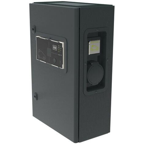 Borne monophasée métal Green'up Premium pour véhicule électrique Modes 2 et 3 3,7kW à 4,6kW 1 port 16A à 20A (059010)